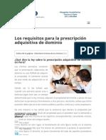 Requisitos Prescripcion Adquisitiva de Dominio