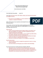 teacher observation reflection form used by endorsement candidates