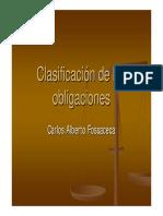 Clasificación de Las Obligaciones en El Código Civil y Comercial de La Nacion