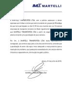 Nota Fake News Martelli Transportes