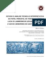 Estudo e Análise Técnica e Interpretativa Do Papel Principal de Tenor - Marcos Santos