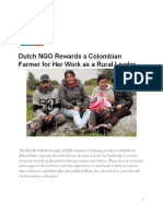 Dutch NGO Rewards a Colombian Farmer for Her Work as a Rural Leader