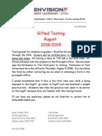 CogAT August 2018 Testing Notification