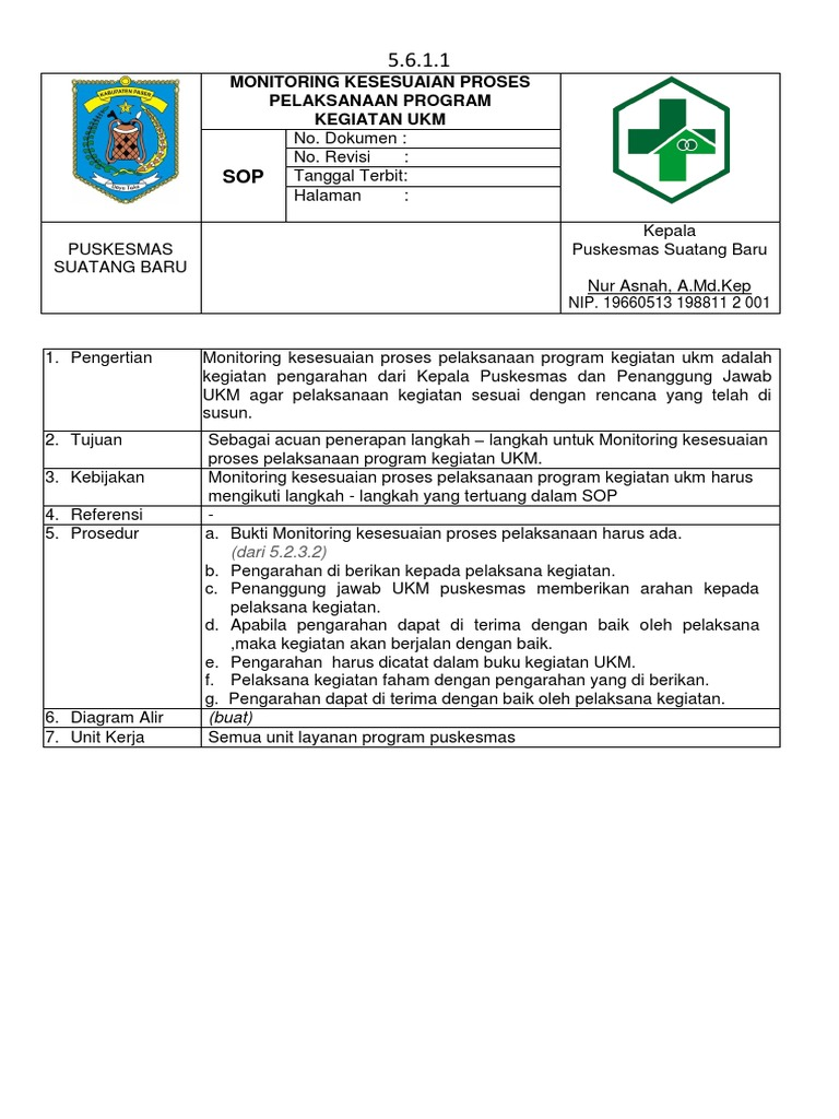 5 6 1 1 Sop Monitoring Kesesuaian Proses Program Kegiatan Ukm