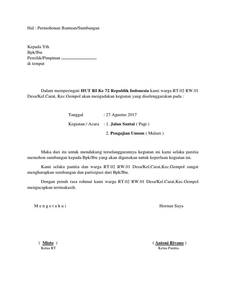 Surat Permohonan Bantuan Kegiatan 17 Agustus Rt.02 Rw.01