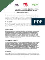 Página 1de Declaración conjunta de PODEMOS, IZQUIERDA UNIDAy EQUO de cara a los procesos electorales de 2019