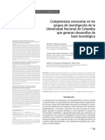 Competencias Necesarias en Los Grupos de Investigación de La Universidad Nacional de Colombia