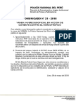 COMUNICADO PNP  N° 21 - 2018