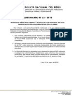 COMUNICADO PNP N° 23 - 2018