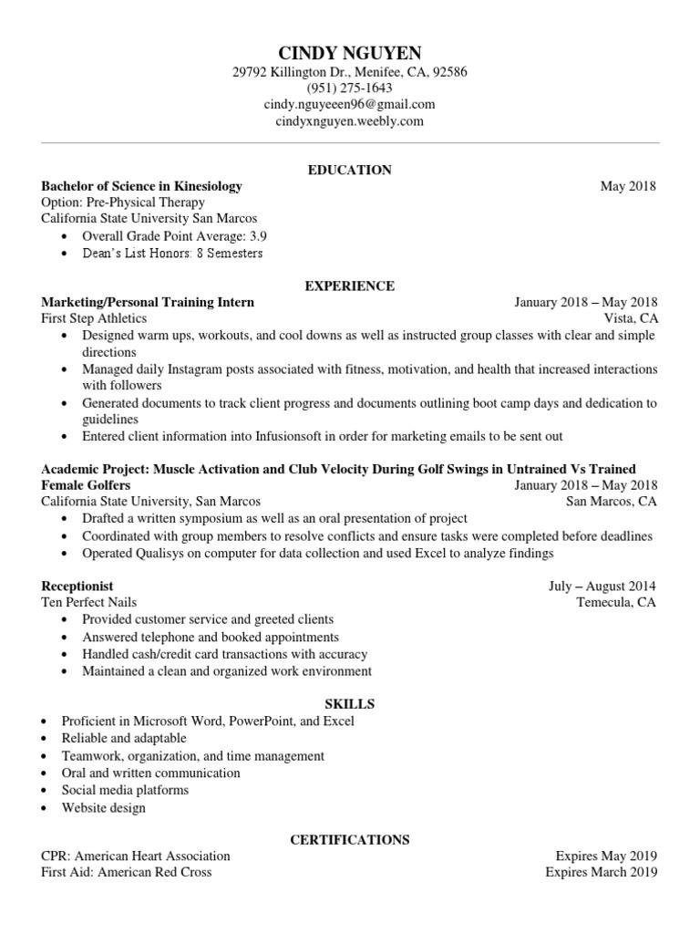 resume microsoft excel communication