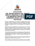 Comunicado Frente Amplio Venezuela Libre sobre presos políticos - 01/06/2018