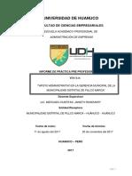 Informe Final de Practicas Pre Profesionales i en Municipalidad de Pillco Marca