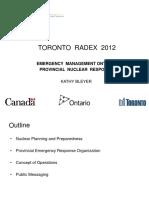 Toronto RADEX 2012 Provincial Nuclear Response Plan