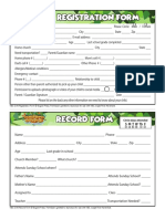 TBC VBS 2018 Registration and Record Forms - Fillable