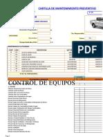 Plantilla de Mantenimiento Camioneta Toyota Hilux 2KD