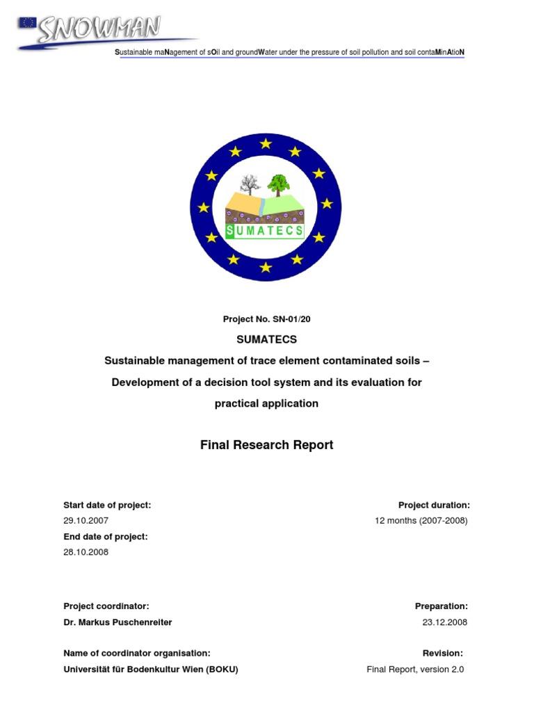 Sumatecs Final Report Environmental Remediation Organic Matter Circuit Training Prsentation Et Exemples D39entrainement