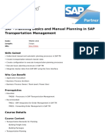 Planning Basics and Manual Planning in Sap Transportation Management