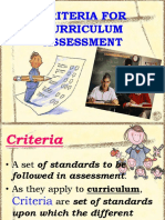 Criteria Curriculum Assessment