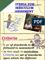 Criteria Curriculum Assessment