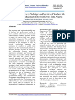 Principals' Supervisory Techniques as Correlates of Teachers' Job  Performance in Secondary Schools in Ebonyi State, Nigeria