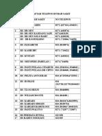 Daftar Telepon Rumah Sakit