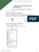 Comment Sauvegarder Les Données de Votre iPhone, iPad Ou iPodTouch - Assistance Apple