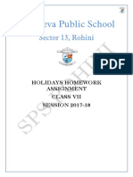 Class 7 Holidays Homework Assignment