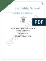 Class 7 Holidays Homework Assignment