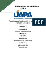 Tarea Numero 2 de Prop. de Matematica UAPA