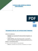 Organizacion de Una Empresa Minera Subterranea