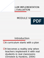 Curriculum Implementation & Evaluation