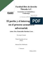 El Perito y El Interrogatorio en El Proceso Acusatorio Adversarial