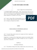 Resolução Nº 2, De 5 de Março de 2002 Codigo de Etica
