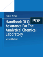 Handbook of Quality Assurance ForTthe Analytical Chemical Laboratory
