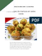 Receta Albóndigas de merluza en salsa verde