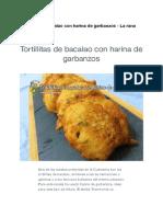 Receta Tortillitas de Bacalao Con Harina de Garbanzo