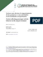 Factores que afectan al comportamiento de los pasajeros y a sus actividades en las terminales aeroportuarias