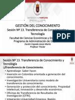 Sesión Nº 13. Transferencia de Conocimiento y Tecnología