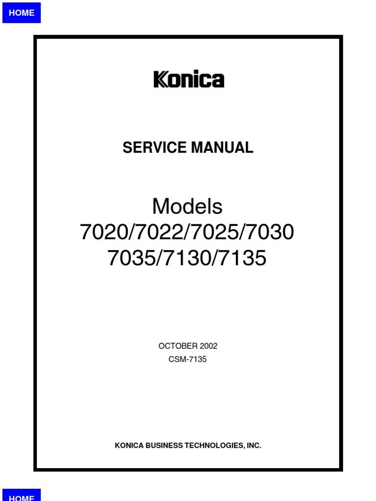 konica minolta 7020 7022 7025 7030 7035 7130 7135 factory repair rh scribd com Konica 7022 Toner Vivitar 7022 Camera