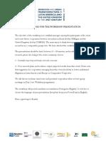 Guidelines for the Workshop Presentation