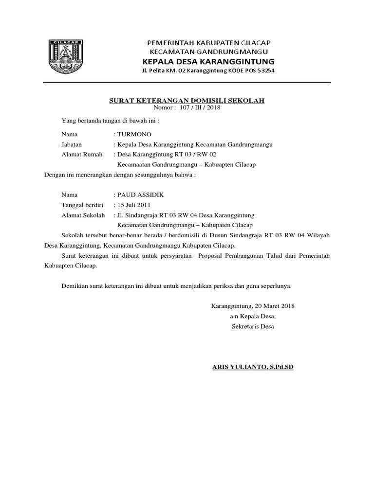 Kepala Desa Karanggintung Pemerintah Kabupaten Cilacap