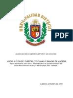 Adquisicion de Puertas, Ventanas y Bancas de Madera,