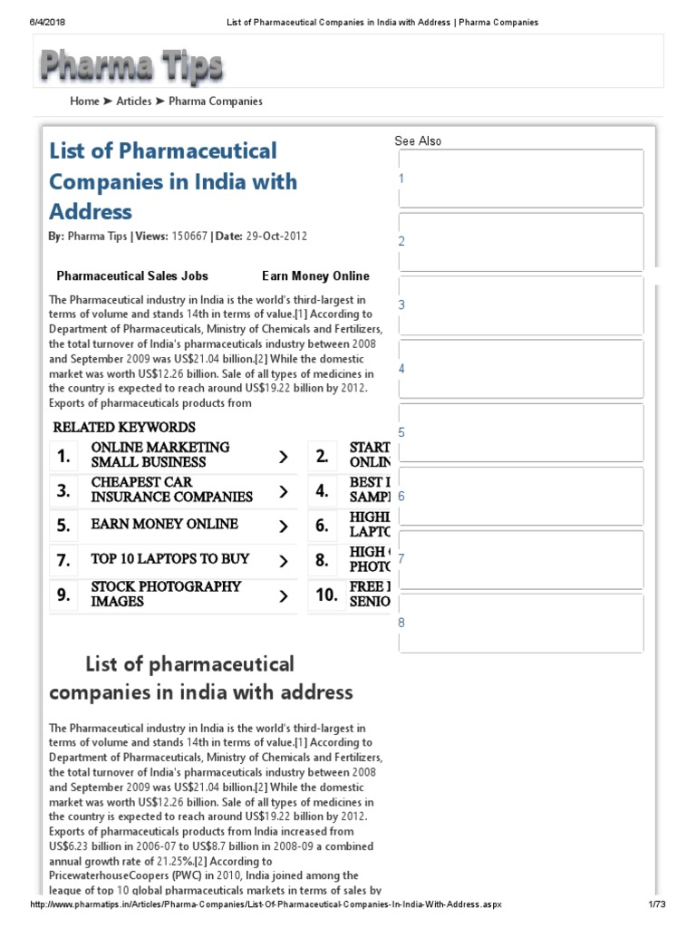 List of Pharmaceutical Companies in India With Address _ Pharma