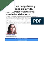 Embriones Congelados y El Comienzo de La Vida