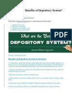 (CDS)Depository System-BENEFITS