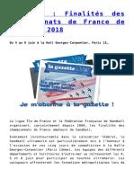 HANDBALL _ Finalités Des Championnats de France de Handball 2018