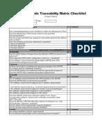Requirements Traceability Matrix Checklist