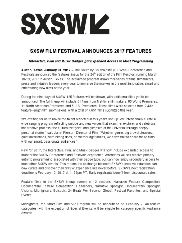 2017 Sxsw Feature Release Final | Leisure