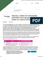 Cálculos y tablas de intensidades admisibles en cuadros eléctricos.pdf