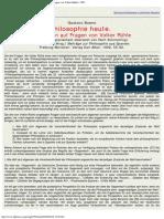 1992 - Gustavo Bueno Philosophie Heute Antworten Auf Fragen Von Volker Rühle (Filosofía Hoy)
